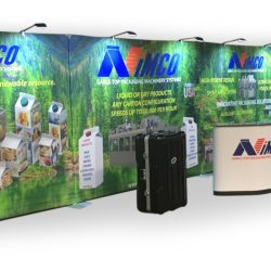 Nimco Trade Show Setup with Fabric Banners and Custom Counter