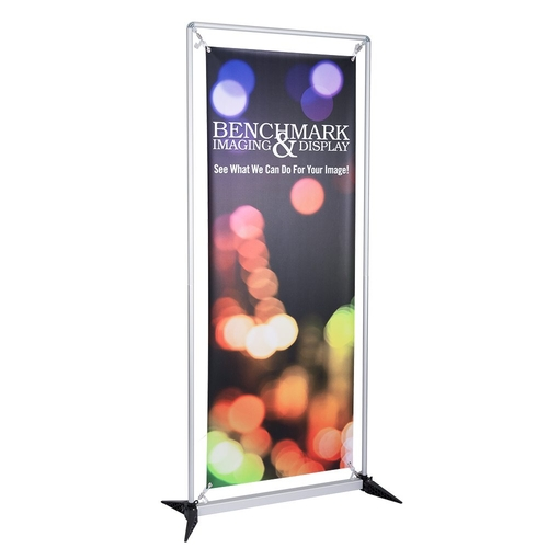 In-Store banner stand allows anyone to change banners in minutes